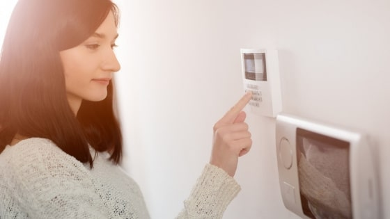 woman with home security